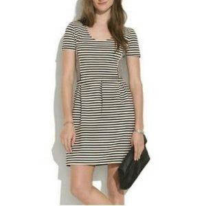 Madewell bistro fit and flare striped dress